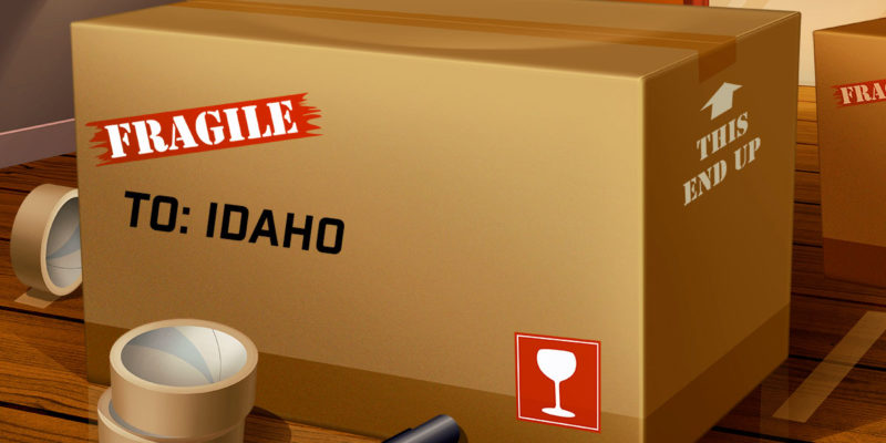 Moving Box with Idaho Written On It